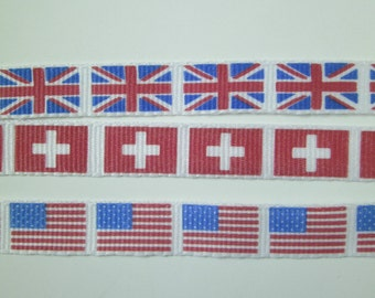 "1 m Printed  Ribbon ""Flag"" 10 mm w."