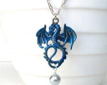 Blue dragon pendant - Chinese dragon jewellery - Dragon necklace - Fantasy creature - Mythical creature - Dragon and pearl - UK