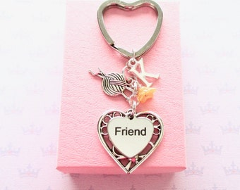 Friend keyring - Personalised knitting Gift - Friend birthday - Yarn ball keyring - Gift for friend - Gift for knitters - Ball of wool
