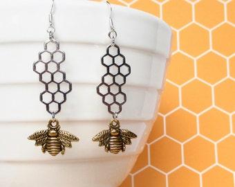 Honeycomb earrings - Gold Honey Bee earrings - Honey Bee jewellery - Bee Keepers gift - Honeycomb jewellery - Bee Keeping gift for her - UK