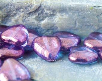 10 Lumi Amethyst 12x11mm Heart Czech Glass Beads (A370)