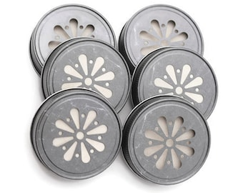 HOT SALE 6 Pewter Mason Jar Lids, Daisy Flower Cut, with Free Pulp Liners, Made in the USA