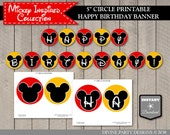 "INSTANT DOWNLOAD Mouse Printable 5"" Circle Happy Birthday Party Banner / Classic Mouse Collection / Item #1568"