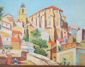 Original South of France Landscape Painting, Church in Antibes, Signed Painting, Mediterranean Landscape.