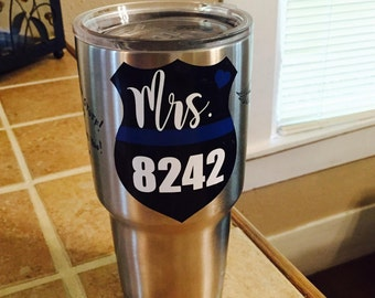 Mrs. Badge Number Blue Line Decal