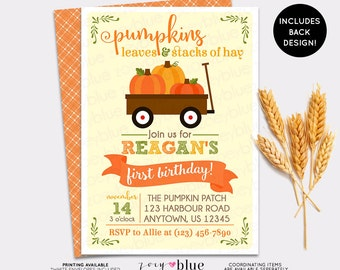Pumpkin Patch Birthday Invitation - Girl Boy Little Pumpkin First Birthday - Harvest Orange Autumn Halloween Fall Birthday - Printable File