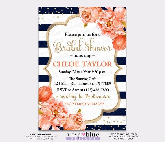 Peony bridal shower invitation floral coral navy watercolor peonies il570xn filmwisefo
