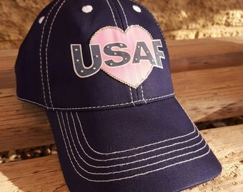 Air Force Girlfriend, Air Force Wife, USAF Hat with pink heart can be personalized for Airforce Girlfriend, Airforce Wife or Air Force Mom