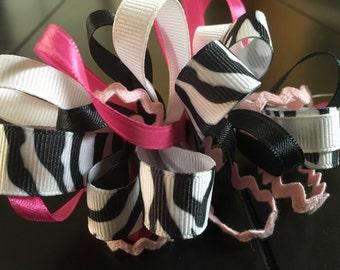 Zebra pink hair clip