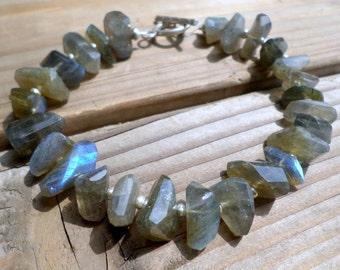 Labradorite Nugget Bracelet and Hill Tribe Silver, Blue Flash Labradorite, Artisan Style, Beachy Bracelet, AAA Labradorite