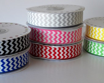 22mm Chevron ZIg Zag Grosgrain Ribbon - 7 colours to choose from