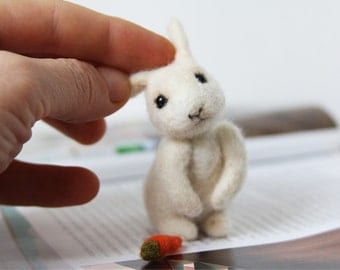 White Bunny cute gift for kids,  white rabbit soft home decor, Bunny needle felted toy
