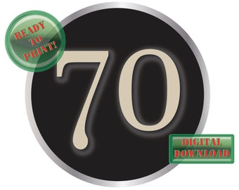 70 Typewriter Key Cake Topper Printable Large 8 Inch Birthday Anniversary Party Centerpiece Vintage Black Silver Aged Steampunk Number Sign