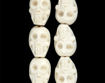 0763 24mm Carved ox bone skull loose beads 15pcs
