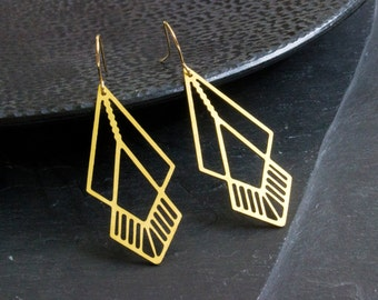 Brass earrings - geometric