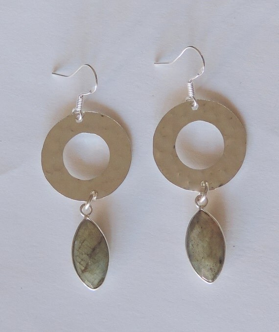Labradorite,Hammered Round Sterling Silver Earrings