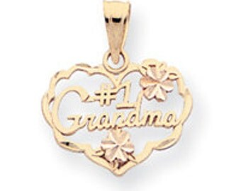 Two Tone #1 Grandma Heart Charm (JC-883)