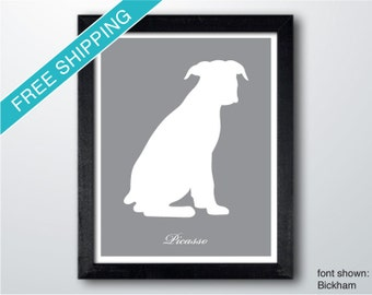 Personalized Boxer Silhouette Print with Custom Name (version 3) - Boxer dog art, modern dog home decor