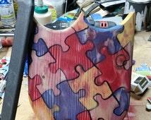 Wood sword and shield, autism awareness