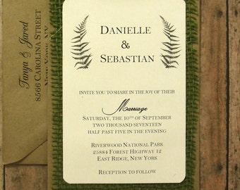 Rustic Wedding Invitation, Fern Sage Green Botanical Nature  Burlap Custom  - 103