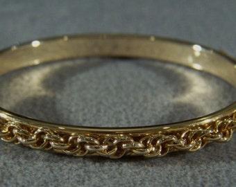 Vintage yellow gold tone bold rope link bangle bracelet Jewelry **RL