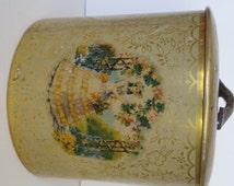 Victorian Tin Jar with Lid-Vintage