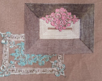 Vintage Fabric- Taupe-Pale blue-Pink