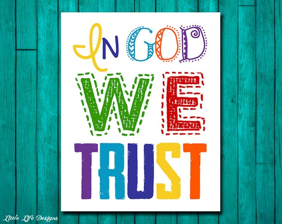 Christian wall art in god we trust christian kids decor for Bible verses for kids rooms
