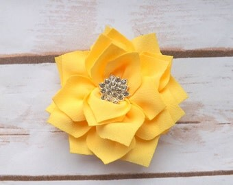 yellow satin flower hair clip, girls hair clip, summer hair clip, flower hair accessory, yellow summer flowers, UK seller