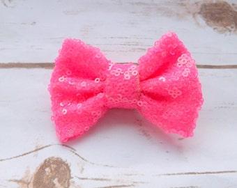 Neon pink sequin bow hair clip, girls pink hair bow, summer bow hair accessory, girls pink bow clip, UK seller