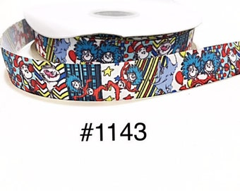 """3 or 5 yard - 7/8"""" Cat In The Hat, Thing 1 and Thing 2, Elephant & Fish Grosgrain Ribbon Hair bow"""