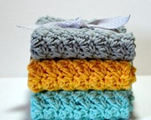 Wash Cloth Set//Sky Blue//Saffron Yellow//Light Gray//Bath Wash Cloths