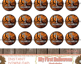 INSTANT DOWNLOAD-My 1st Halloween,Bottle Cap Images,Digital Images,Digital Download,Cupcake Toppers,Printable,One Inch Circle(102HAL)