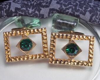 Vintage cufflinks 60s, 70s green stone!