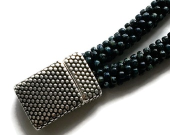 Dotted Texture FLAT Magnetic Clasp 10x3.5mm  ANTIQUE SILVER