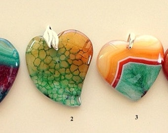 Colorful Agate Heart Pendants/Necklaces - Green, Yellow, Brown, Blue, Red, Mixed and Dragon Vein