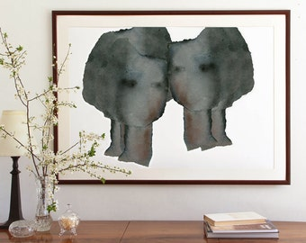 Extra Large Abstract Print, Modern Home Decor Wall Art, Large Painting in smoky grey on white