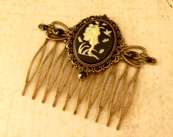 Cameo hair comb with fairy in black bronze Fantasy Hair Girls gift idea