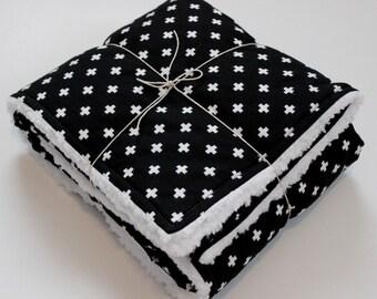 Black + White Baby Blanket | Plus Signs