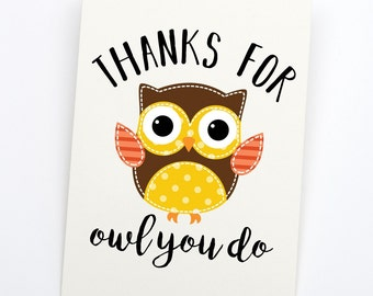 Thank You Cards | OWL You Do | INSTANT DOWNLOAD | Set of Printable Thank You Cards | Thank You Notes | Printable