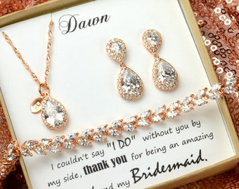 Rose gold,Bridesmaid Gift,Bridesmaid Jewelry Set,Bridesmaid Earrings,Necklace Bracelet Set,Personalized Bridesmaid Gift,Wedding Jewelry Set