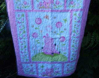 Handmade Petunia Pig Baby Quilt