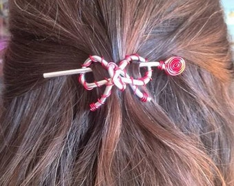 Hair Bow Red and Silver
