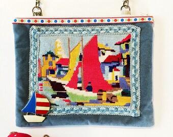 Handmade nautical tapesrty bag on velvet