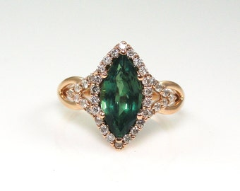 Alexandrite 2.62 Carats With Diamond Halo Ring in 14K Rose Gold (14109)