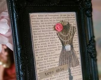 Shabby Cottage Chic Framed Art..German Book Page Embellished Vintage Dress Form Black Ornate Frame..ooak..Gift Idea Handmade & READY TO SHIP