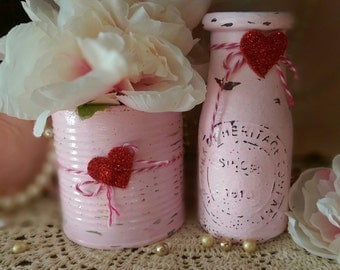 2 Pink Shabby Chic Glass Milk Bottle and Tin Can SET Valentine's Day Decor Decoration Gift Vases Table Centerpieces by Sweet Vintage Designs