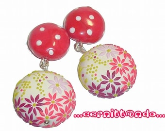 Polymer clay earrings with polka dots and tiny flowers decorations