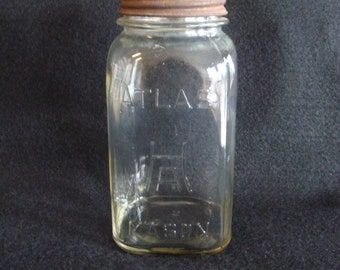 Atlas Mason Jar, H over A with Atlas EDJ Seal Lid, 1 Qt., Clear Glass