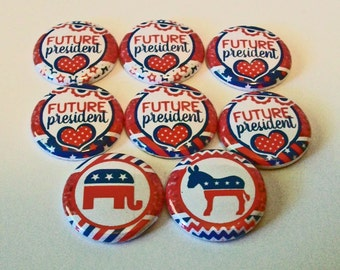 Cute Political Red White and Blue Future President set of 8 1 Inch Flat Back Embellishments Buttons Flair Great for Bow Making